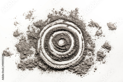 Poster Bullseye, target, round, circle shape drawing in dust, ash, dirt