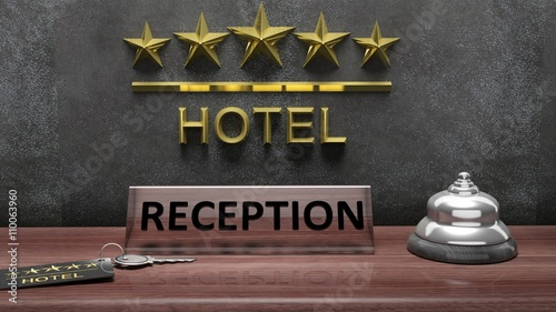 3D rendering of Hotel's reception office with bell and key on wooden desk
