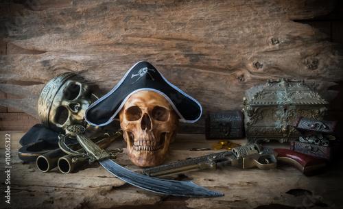 Fotobehang Schip pirate skull concept , still life