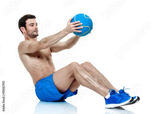 Fototapeta man  fitness exercises isolated