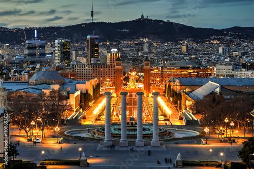 Zdjęcia na płótnie, fototapety, obrazy : Barcelona at the blue hour, Spain