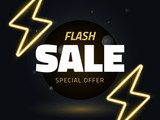 Vector flash sale design with thunder vector illustration, background