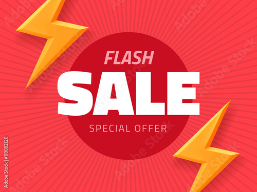 Vector flash sale design with thunder vector illustration, pink background banner with lightning for business design