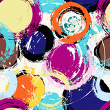 seamless paintstrokes pattern, with circles, vector illustration