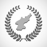 Isolated laurel wreath icon with  the map of North Korea