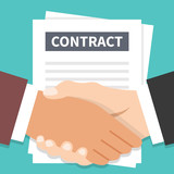 Businessmen handshake and contract flat illustration. Agreement, successful negotiation, partnership concepts. Vector illustration