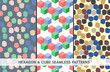 Set of 3 cube and hexagon seamless patterns
