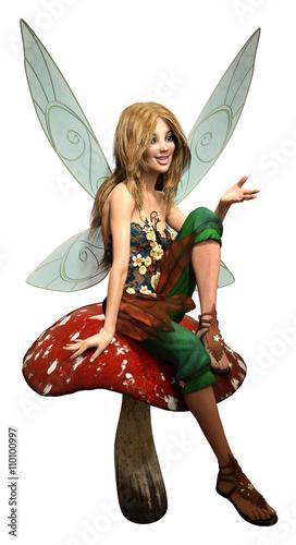 Zdjęcia na płótnie, fototapety, obrazy : Fairy on a mushroom