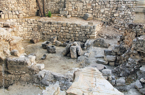 Excavated archeological ruins of the Pool of Bethesda and Byzantine Church Poster