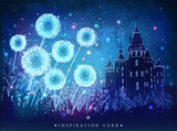 Amazing dandelions with magical lights of fireflies at night sky background. Magical fairytale castle Inspiration card