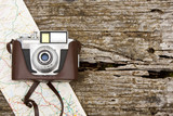 camera with map on wood
