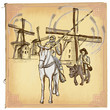 Don Quijote (Quixote) - An hand drawn vector sketch, freehand, c