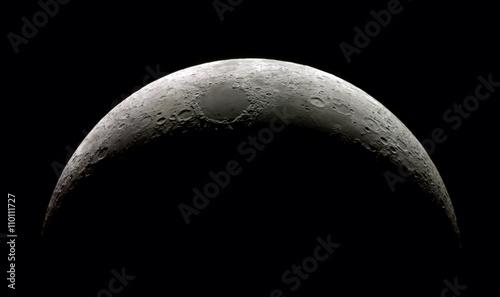 Fototapeta High detail Waxing Crescent Moon (15,4% illuminated) taken with SkyWatcher Mak127/1.500@3.000mm & Astrolumina alccd5l-IIc Camera. Mosaic of 14 frames.