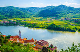 Fototapety aerial view of Durnstein village situated in wachau valley in Austria