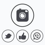 Hipster photo camera. Like, Chat speech bubble.