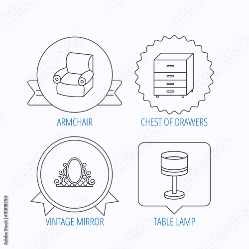 Mirror table lamp and armchair icons im genes de for Ar 11 6 table 6 2