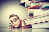 Fototapety Accountant terrified of pils of binders.