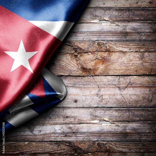 Poster Flag of Cuba on wooden boards