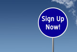 Sign with text Sign Up Now on sky background