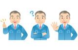 作業着の中年男性 社長 表情セット