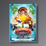 Vector Party Flyer design on a Casino theme with roulette wheel and summer elements on ocean landscape background