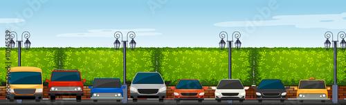 Papiers peints Piscine Car park full of cars