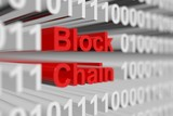 Block chain as a binary code with blurred background 3D illustration