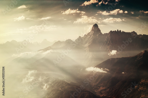 Vintage Landscape with Mountains - 110153104
