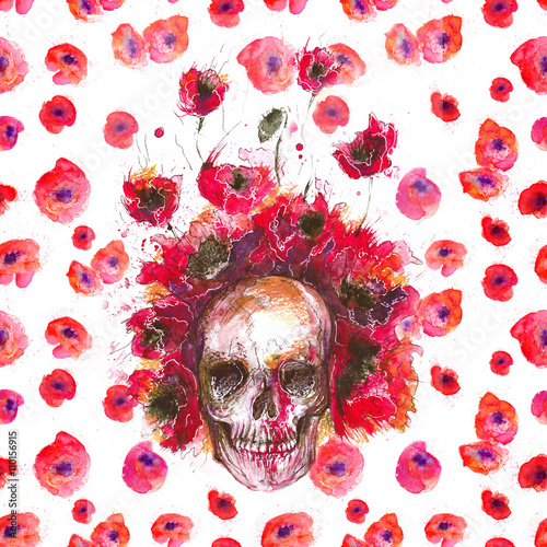 watercolor buffalo skull and poppies - 110156915