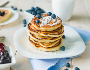 pancakes with blueberry and jam