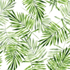 Palm leaves. Watercolor seamless pattern 2
