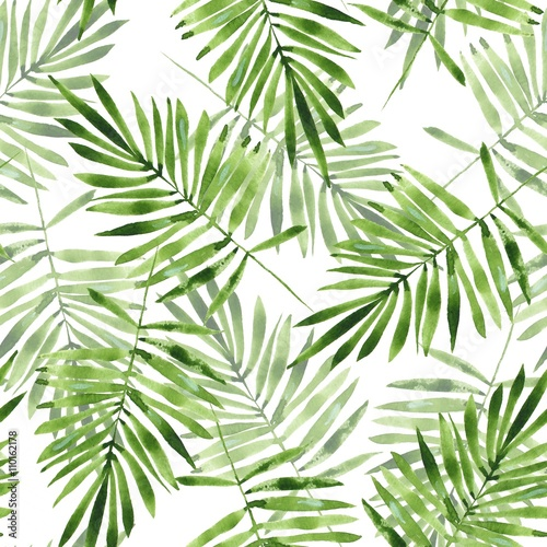 Palm leaves. Watercolor seamless pattern 2 © Gribanessa