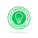 Energy efficient green eco icon lightbulb symbol design