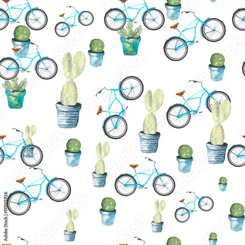 Cotton fabric Cactus and the bike pattern. Drawing watercolor. Plants in pots and the turquoise bike.