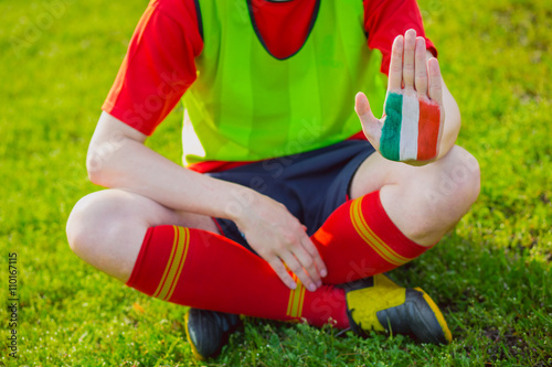 Football Euro cup 2016. Man showing painted Italy flag, hands c Poster