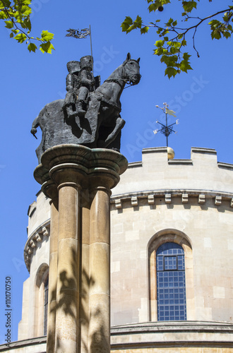 Knights Templar Statue at Temple Church in London Poster