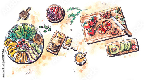 healthy food vegetble fruits and salad flat lay watercolor illus - 110171554