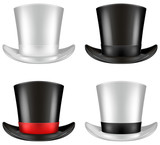 Top hat illustration, front view in four color schemes.