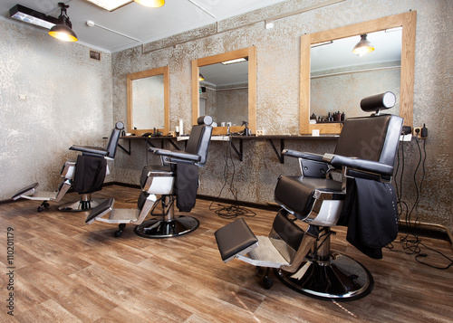 Three workplaces for barbers Poster