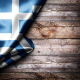 Flag of Greece on wooden boards