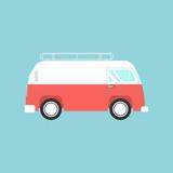 Vector illustration of a retro  van