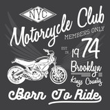 Fototapety T-shirt typography design, motorcycle vector, NYC printing graphics, typographic vector illustration, New York riders graphic design for label or t-shirt print, Badge, Applique