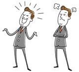 イラスト素材:中年ビジネスマン 怒る 笑う