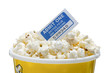 popcorn cup with movie ticket