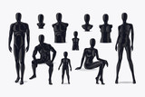 Mannequins vector. Fashion clothing store mannequins, shop window mannequin set