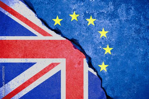 brexit blue european union EU flag on broken wall and half great britain flag