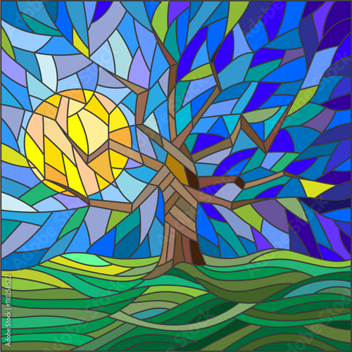 Naklejka Illustration in stained glass style with an abstract tree on the background of sky, sun and green fields