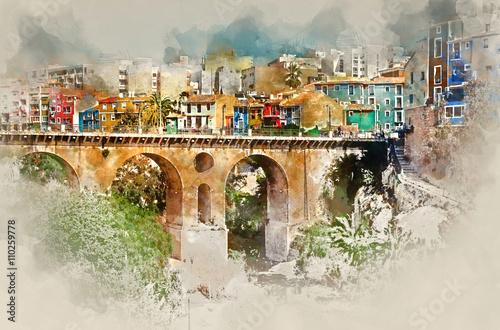 Zdjęcia na płótnie, fototapety, obrazy : Digital watercolor painting of Villajoyosa town. Spain