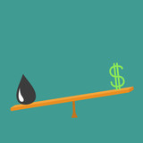 Dollar sign and oil drop on scale board. Balance between dollar and oil value. Seesaw icon. Business infographic. Green background. Isolated. Down up money value concept. Flat design
