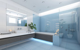 Bright Bathroom In Blue  - 110261584